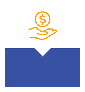 Decoractive hand with dollar sign graphic