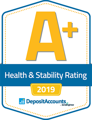 A logo with a large A plus health and stability rating 2019